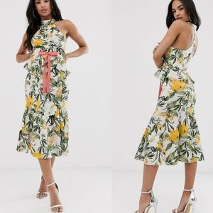 ASOS DESIGN floral halter ruched front midi dress